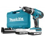 Makita HP457DWE Perceuse visseuse à percussion 18V Li-Ion (2x batterie 1.3Ah) dans coffret