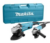 Makita DK0053G Meuleuse d'angle combiset (GA9020) & (9558HN) dans coffret - 2200W - 840W - 230mm - 125mm