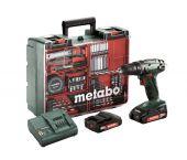 Metabo BS 18 - Set perceuse visseuse Li-Ion 18V (2x batterie 2.0Ah) dans coffret + accessoires (73pcs) - 48Nm - 602207880