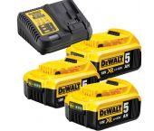 DeWalt DB115P3 Set de démarrage 18V Li-Ion (3x batterie 5.0Ah) + chargeur - DCB115P3-QW