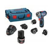 Bosch GSR 12V-15 FC 12V-15 FC Perceuse visseuse à batteries 12V Li-Ion (2x batterie 2,0Ah) dans L-Boxx 4 accessoires inclus - 06019F6000