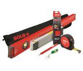 Sola - Pack de base (6pcs) - Niveau à bulle, mètre pliant, crayons - 01370845