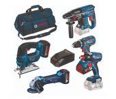 Bosch 0615990K6L - Set outils complété 18V (5pcs) GSR/GST/GWS/GDX/GBH (3x batterie 4,0Ah) dans sac de transport