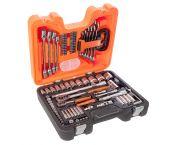 Bahco S910 - Jeu de douilles longues et de douilles 6 pans 1/4'' et 1/2'' métrique et jeu de clés mixtes, 92 pièces