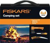 Fiskars 1025439 - Set de Camping - Hachette - Scie de jardin - Couteau
