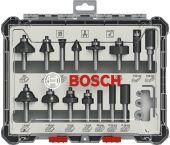 Bosch 2607017472 Set de fraisage 15 pièces en cassette - 8mm